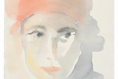 Micaelina-Campos.-Mujer-con-turbante-rojo-1-2007-acuarela-sobre-papel-355-x-26-cm.-Coleccion-particular