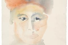 Micaelina-Campos.-Mujer-con-turbante-rojo-2-2007-acuarela-sobre-papel-355-x-26-cm.-Coleccion-particular